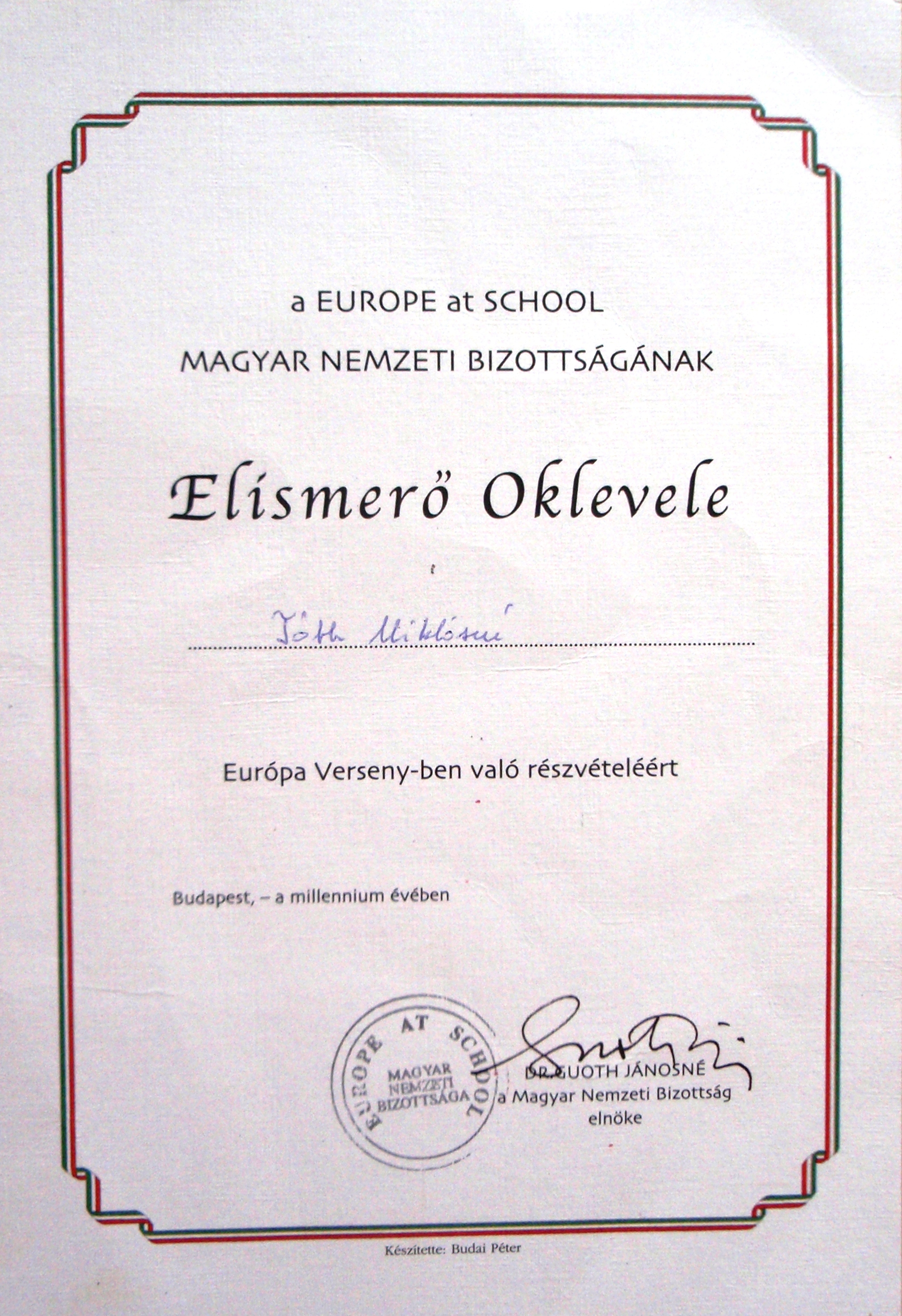 08. Europe At School- Elismerő Oklevél